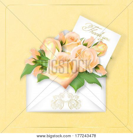 Tea roses with a note in an envelope. Template for greeting card, banner, an invitation. Mothers day Card. Concept spring background. Vector. The concept of flower delivery.