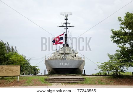 Remembrance Lhuangprasae Battleship Discharge Stop On Land For People Visit And Travel At Pak Nam Pr