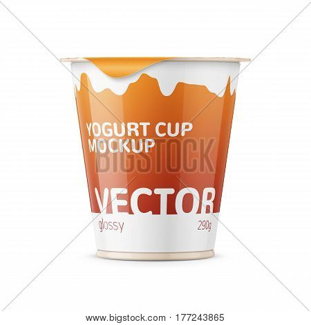 Round plastic pot with glossy carton wrap and foil cover for dairy products, yogurt, cream, dessert. 290 g. Realistic packaging mockup template with sample design. Front view. Vector illustration.