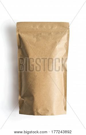 Craft paper pouch bag front view isolated on white background.