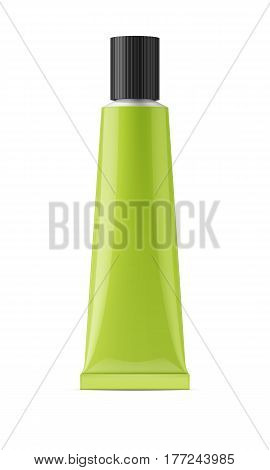 Colored glossy metal tube with black cap for glue, sealant, epoxy, gel, medicine and cosmetics products. Realistic packaging mockup template. Front view. Vector illustration.