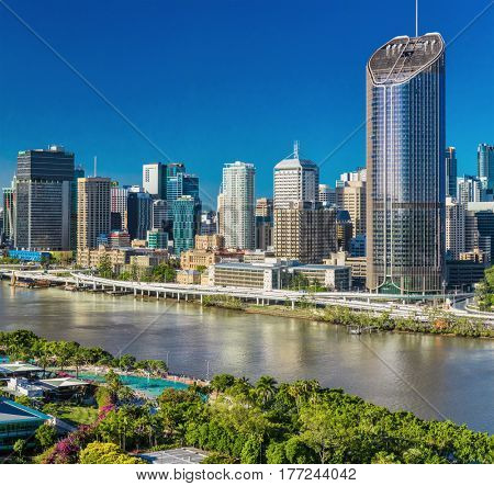 BRISBANE, AUSTRALIA - Dec 29 2016: Areal image of Brisbane CBD, river and South Bank, Australia