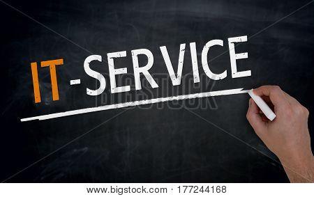 It Service Is Written By Hand On Blackboard