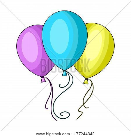 Blue pink and yellow balloons for children. Children's toys in the amusement park.Amusement park single icon in cartoon style vector symbol stock web illustration.