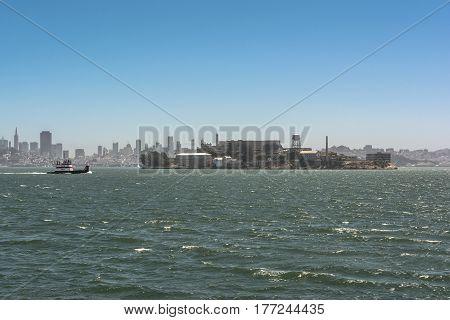 Alcatraz Island and San Francisco skyline, California