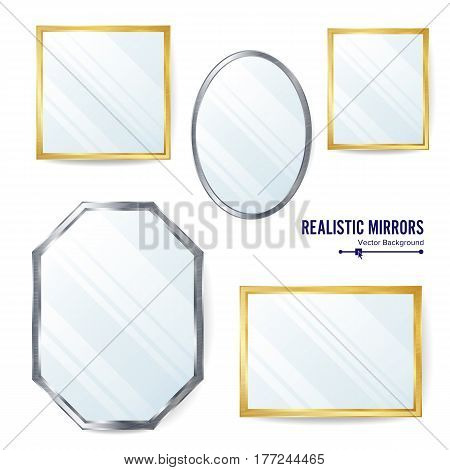 Realistic Mirrors Set Vector. Different Mirror Shapes For Interior