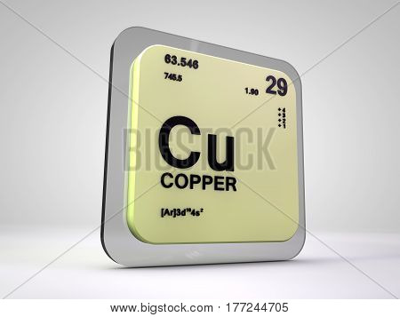 copper - Cu - chemical element periodic table 3d render