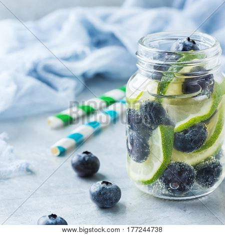 Lemon Lime Berries Fresh Infused Water Detox Drink Cocktail Lemonade