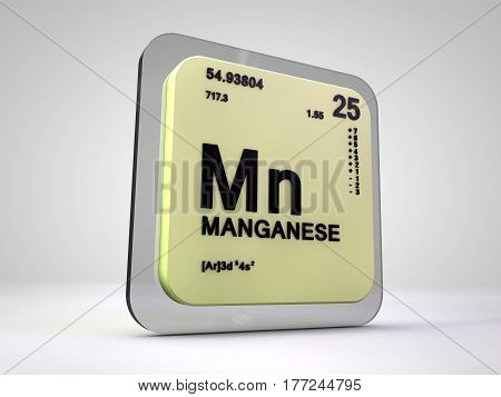 Manganese - Mn - chemical element periodic table 3d render