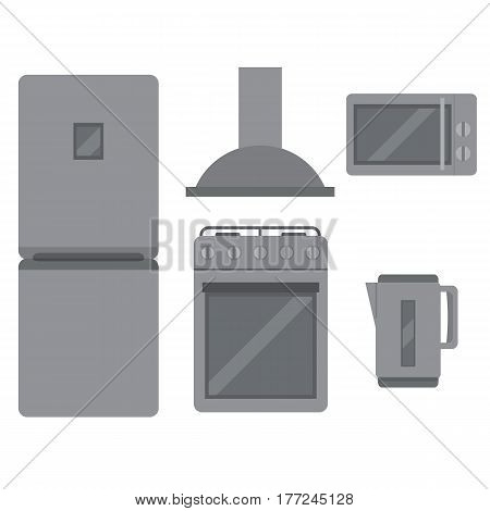 A set of home appliances for the preservation and preparation of food and beverages. Kitchen appliances in the style of flat. Vector illustration.