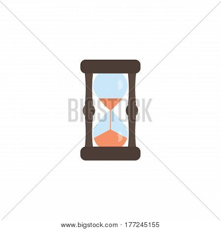 Hourglass in the style of flat. Front view. Vector illustration.