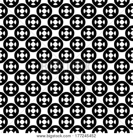 Vector seamless pattern with simple geometric figures, perforated circles, smooth lines. Black & white illustration. Endless abstract background. Modern monochrome texture. Repeat design element