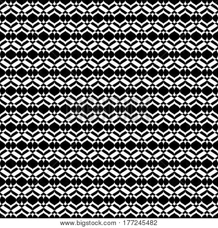 Vector monochrome seamless texture, abstract geometric pattern, smooth lines, geometrical shapes. Abstract design element for decor, prints, cover, package, textile, furniture, fabric. Black & white colors