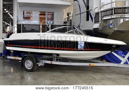MOSCOW - MARCH 09 2017: Boat Bauliner 175 BRE for 10 International boat show in Moscow. Russia.