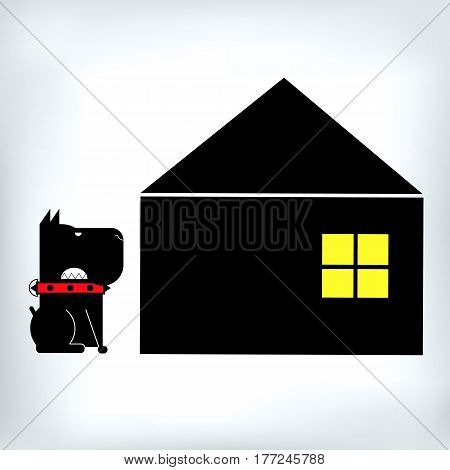 dog pet logo symbol illustration icon puppy strong teeth jaws security