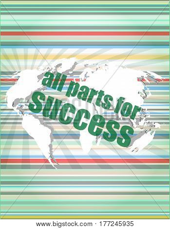 All Parts For Success Text On Digital Touch Screen Interface. Concept Of Citation, Info, Testimonial