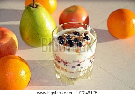 Healthy Yogurt With Mix Of Berry, Sunflower Seeds, Bran And Honey For Healthy Morning Meal