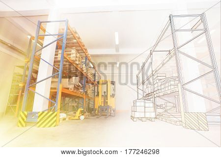 Drawing Combined With Shelves And Racks With Pallets In Distribution Warehouse Interior