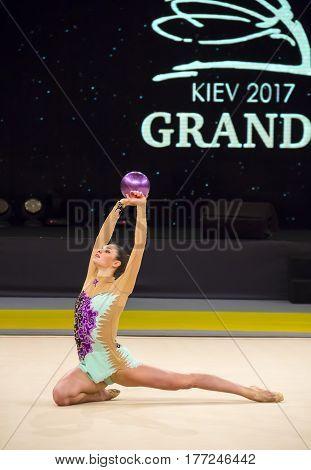 KYIV, UKRAINE - MARCH 17, 2017: Anna Sebkova (Czech Republic) performs at Deriugina Cup Grand Prix (Rhythmic Gymnastics International Tournament)