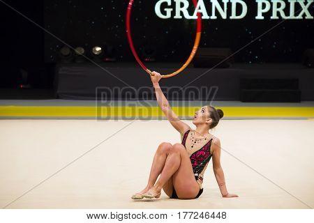 KYIV, UKRAINE - MARCH 17, 2017: Katrin Taseva (Bulgaria) performs at Deriugina Cup Grand Prix (Rhythmic Gymnastics International Tournament)