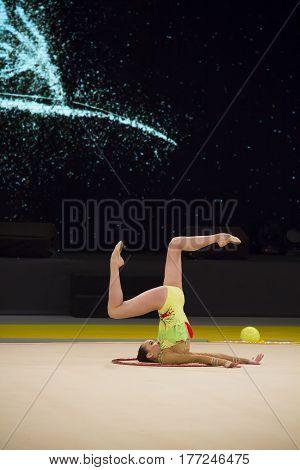 KYIV, UKRAINE - MARCH 17, 2017: Aidana Sarybay (Kazakhstan) performs at Deriugina Cup Grand Prix (Rhythmic Gymnastics International Tournament)