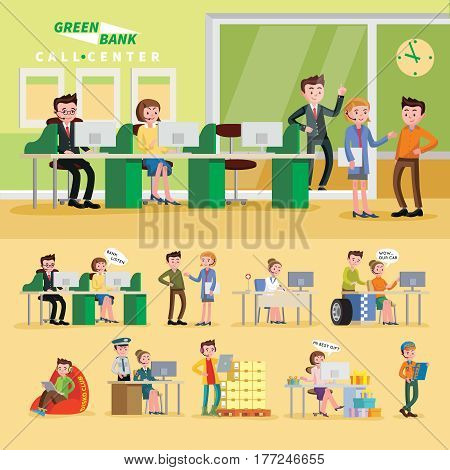 Colorful helpline composition with operators of bank police shop event car repair and medical online services vector illustration