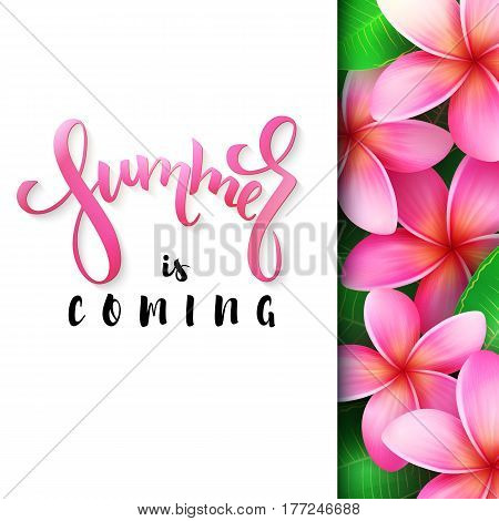 vector illustration of hand lettering poster - summer is coming with paper sheet on a background of blooming rose plumeria.