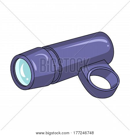A flashlight that clings to the steering wheel to illuminate the road.Cyclist outfit single icon in cartoon style vector symbol stock web illustration.