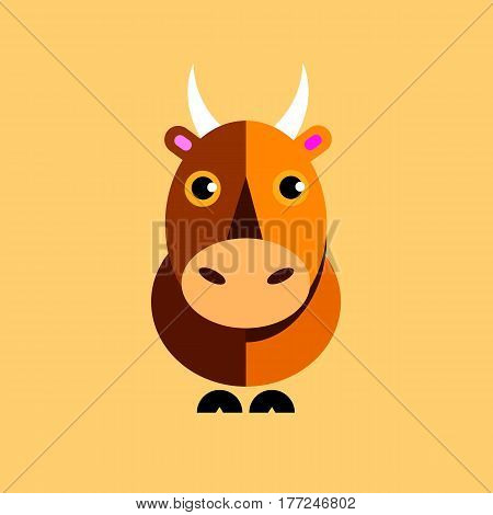illustration vector bull symbol icon animal horns tail hooves ears