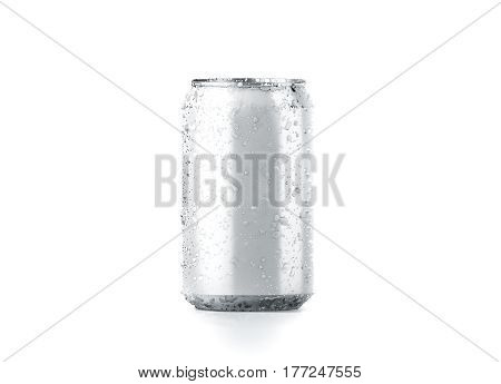 Blank cold aluminium beer can mockup with drops 330 ml 3d rendering. Empty fresh soda tin packing mock up with condensate isolated on white. Canned dripping drink template. Cool fizzy pop package.