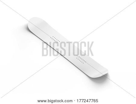 Blank white snowboard design mockup isolated 3d rendering. Clear snow board mock up isometric view. Clear realistic snowboarding sport equipment template for printing. Winter vacation object design