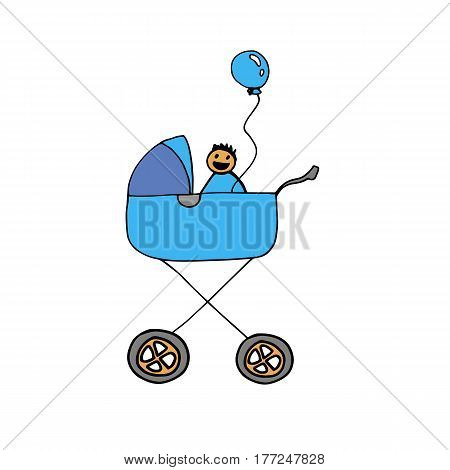 stroller baby illustration vector carriage child icon kid pram childhood silhouette toddler born infant