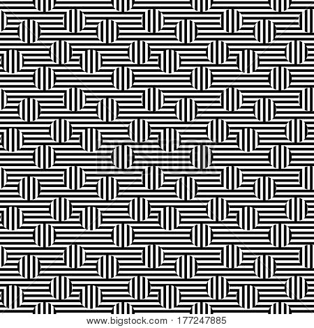 Vector monochrome seamless pattern. Black & white striped texture. Visual illusion effect, horizontal & vertical lines. Trendy abstract design, urban pop style. Stylish background, decorative element
