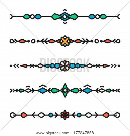 Decorative hipster geometric colorful dividers isolated vector line style
