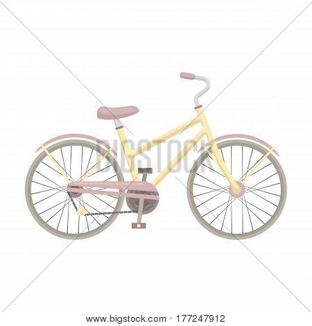 Rural women s bicycle. The vehicle of a healthy lifestyle.Different Bicycle single icon in cartoon style vector symbol stock web illustration.