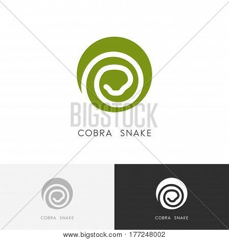 Cobra snake logo - serpent symbol. Green reptile icon.