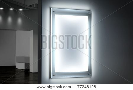 Blank white illuminated poster mockup in dark hall 3d rendering. Clear glowing affiche design mock up mounted on gallery wall. Led acrylic billboard with empty placard in cinema room. Light box sign