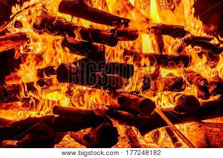 Fire flames with reflection on black background