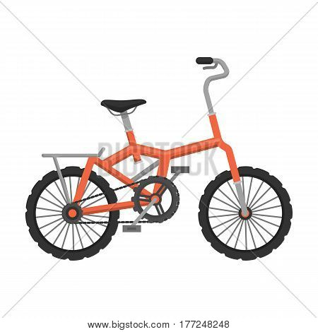 Little orange children s bicycle. Bicycles for children and a healthy lifestyle.Different Bicycle single icon in cartoon style vector symbol stock web illustration.