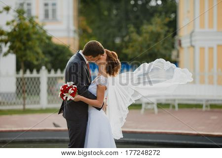 Bridegroom and bride with very long bridal veil standing in the park