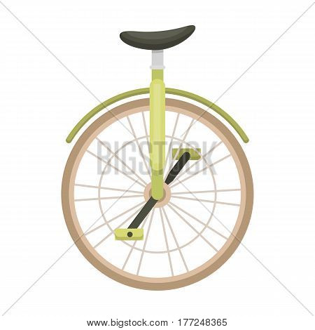 Unicycle for the circus. Bicycle with one wheel for performances.Different Bicycle single icon in cartoon style vector symbol stock web illustration.