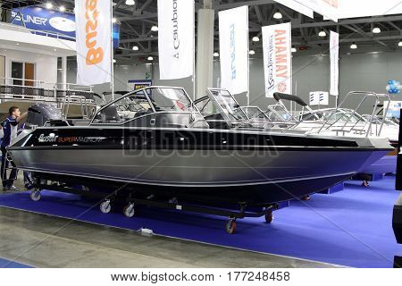 MOSCOW - MARCH 09 2017: Boat Buster Super Magnum for 10 International boat show in Moscow. Russia.