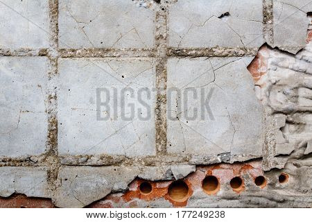 Reverse side of an old ceramic tile with adhesive. Abstract background