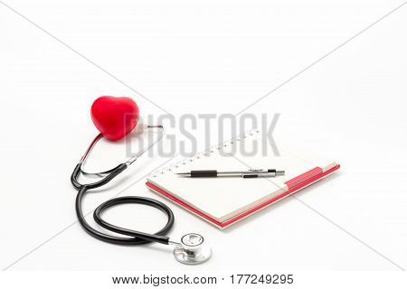 Healty Concept;Red heart and a stethoscope on white background