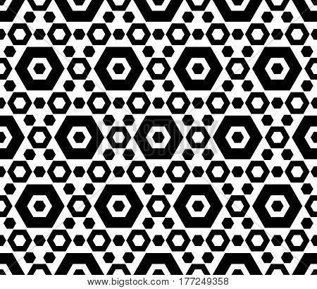 Vector monochrome texture, black & white hexagonal geometric seamless pattern. Contrast abstract background with different sized hexagons, symmetric structure. Design for cover, digital, web, prints, textile, fabric, cloth, home decor