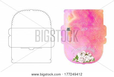 Drawing greeting envelopes. For money or weddings and celebrations. For office and business. Ready to print colorful envelope. Template. Pattern with flowers. White background.