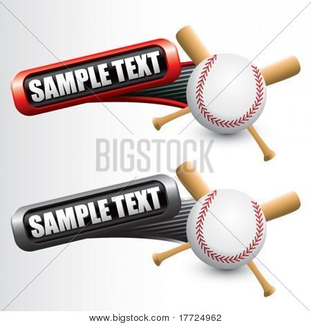 baseball and crossed bats on tilted red and gray banners