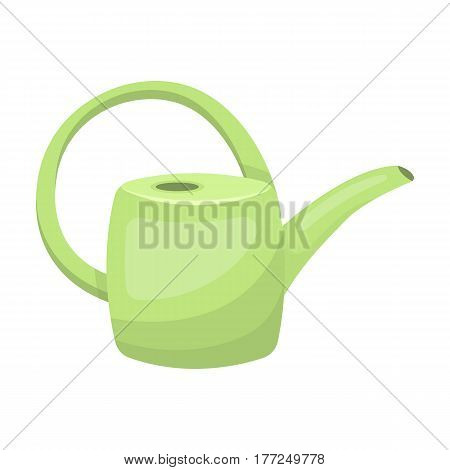 Green plastic watering can for watering flowers in the garden.Farm and gardening single icon in cartoon style vector symbol stock web illustration.