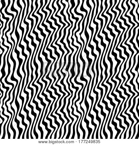 Vector monochrome texture, black & white seamless pattern, abstract curved lines. 3D visual effect, illusion of movement. Dynamical wavy stripes, rippled background. Modern stylish design, pop art style