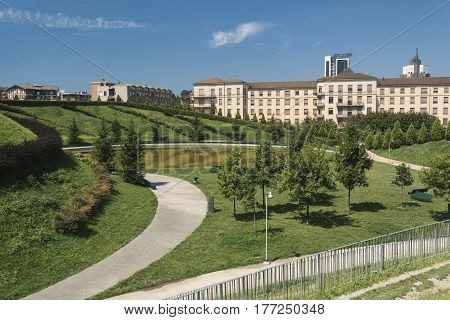 Milan (Lombardy Italy): park in the new Portello area at summer